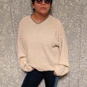 Vintage Oversized V-neck Knit Sweater